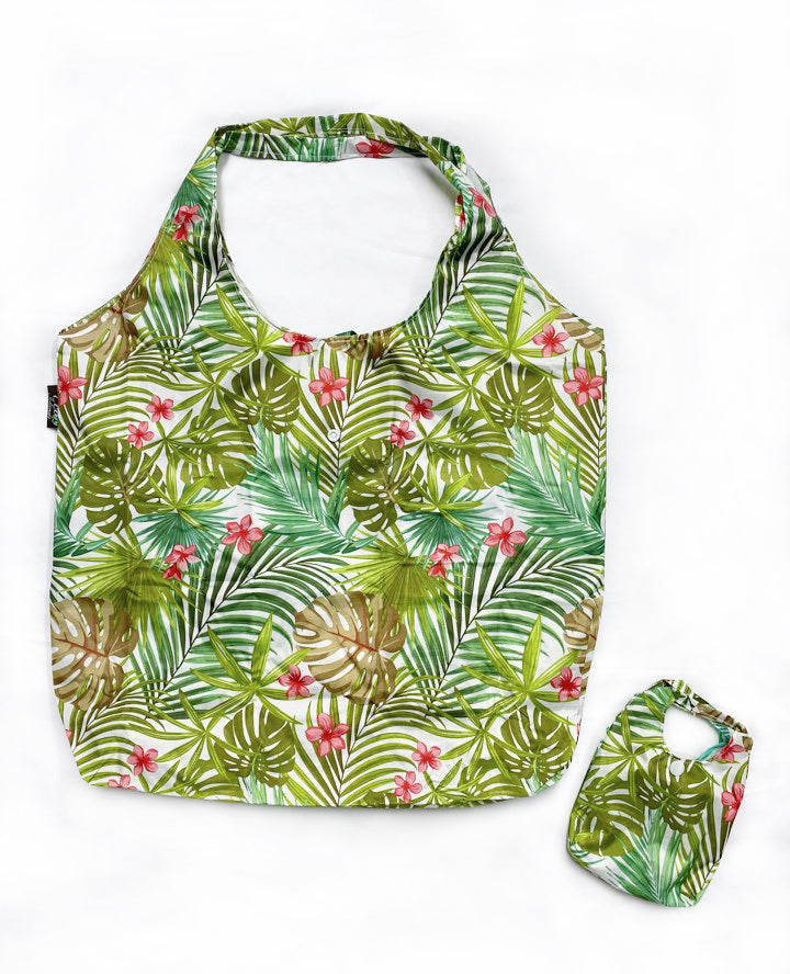 Foldable Reusable Shopping bag PALM FOREST - CREAM
