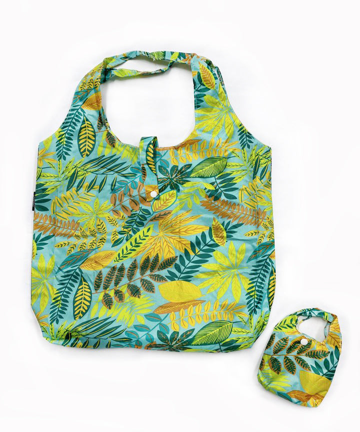 Foldable Reusable Shopping LEAF PRINT - NAVY / BEIGE / BLUE / BLACK