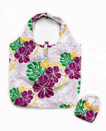 Foldable Reusable Hawaii Shopping Bags Floral Aloha - SAPPHIRE / PURPLE