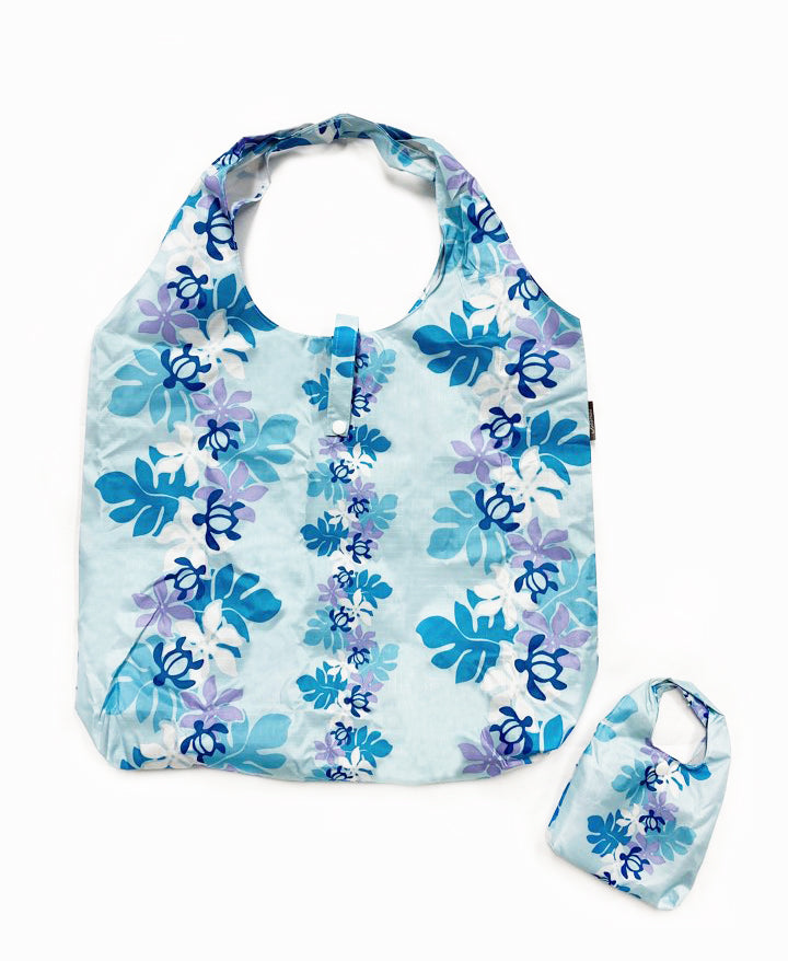 Fordable Reusable Shopping Bags HONU W/ LEAF - BEIGE / L BLUE