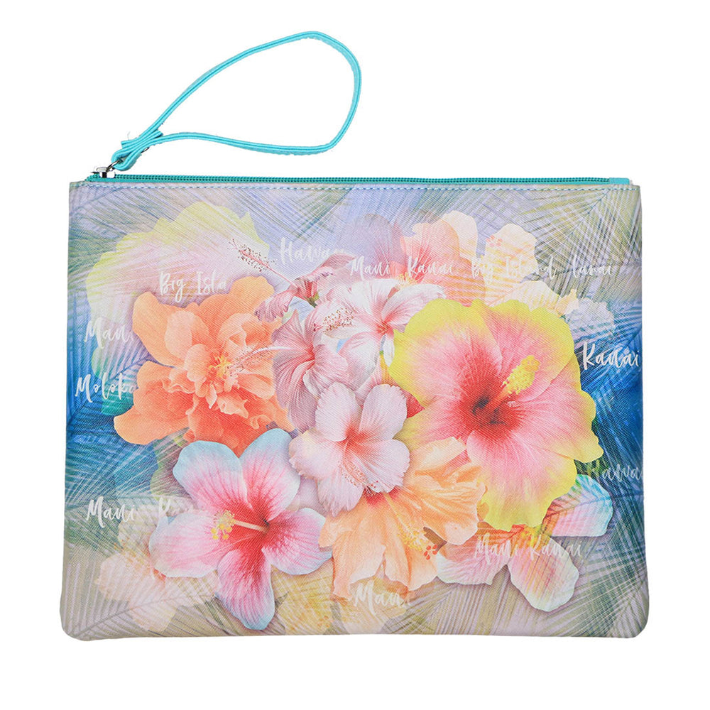 Pouch Bag Series: PINK YELLOW HIBISCUS