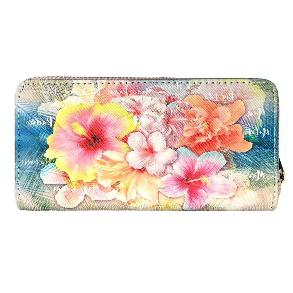 PINK YELLOW HIBISCUS WALLET