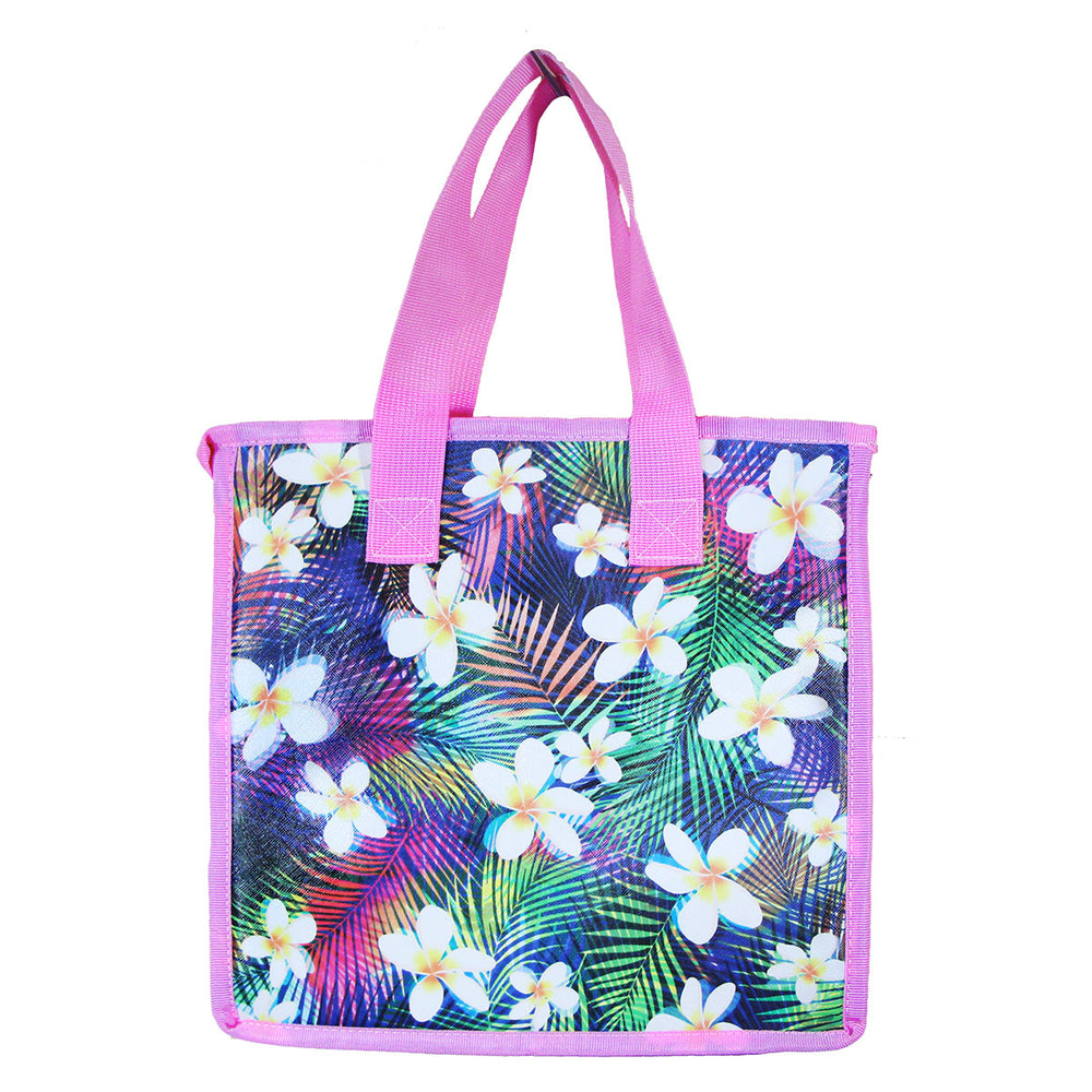 Large Insulated Picnic Bag - PALM SHADE - SAPPHIRE / PINK