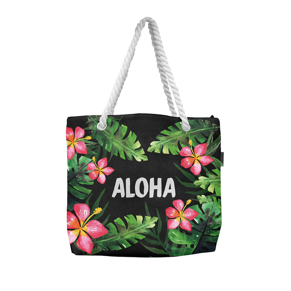 WOVEN TOTE BAG W/ ROPE HANDLE - ALOHA HIBISCUS - BLACK / WHITE