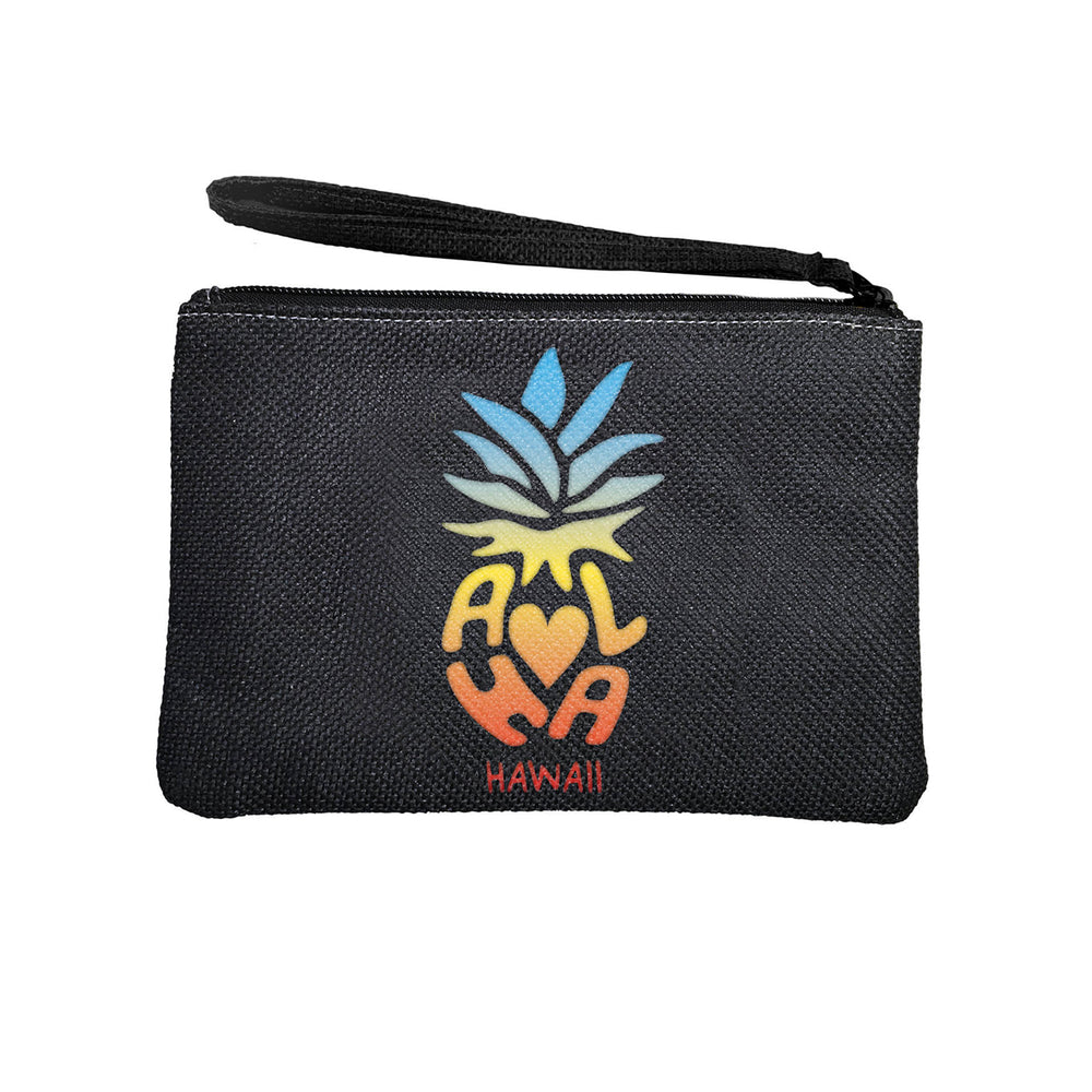 WOVEN POUCH - ALOHA PINEAPPLE - BLACK / WHITE