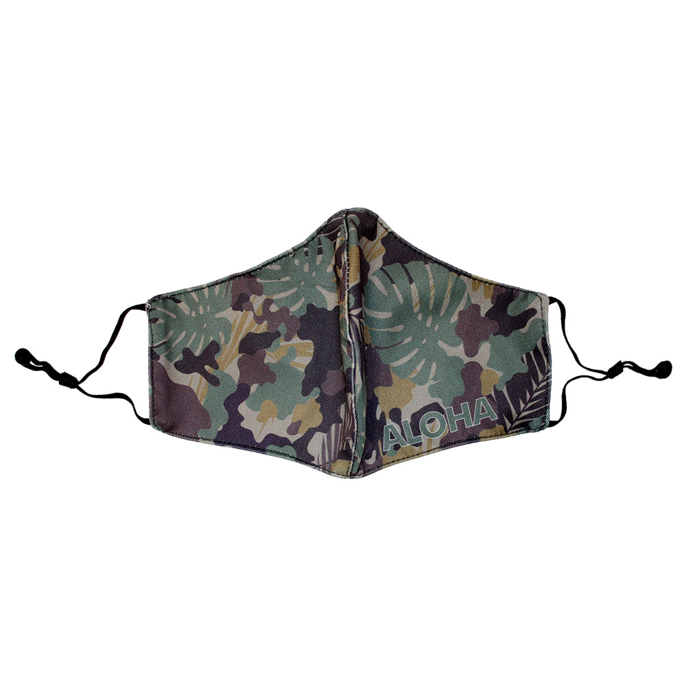 FACE MASK W/ ADJUSTABLE STRAP : ALOHA CAMO, PINEAPPLE DESIGN - 3, 4 SETS