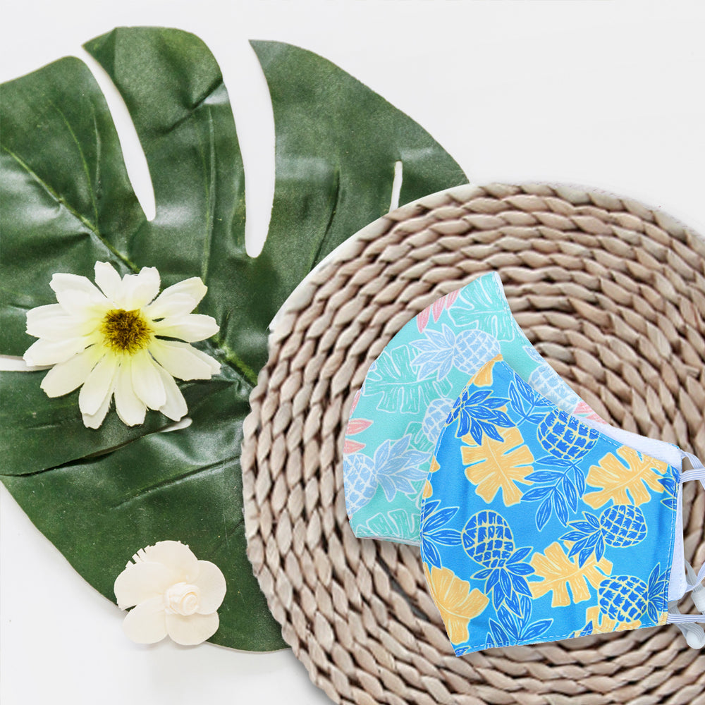 FACE MASK W/ ADJUSTABLE STRAP : PINEAPPLE DAY - 3, 4 SETS