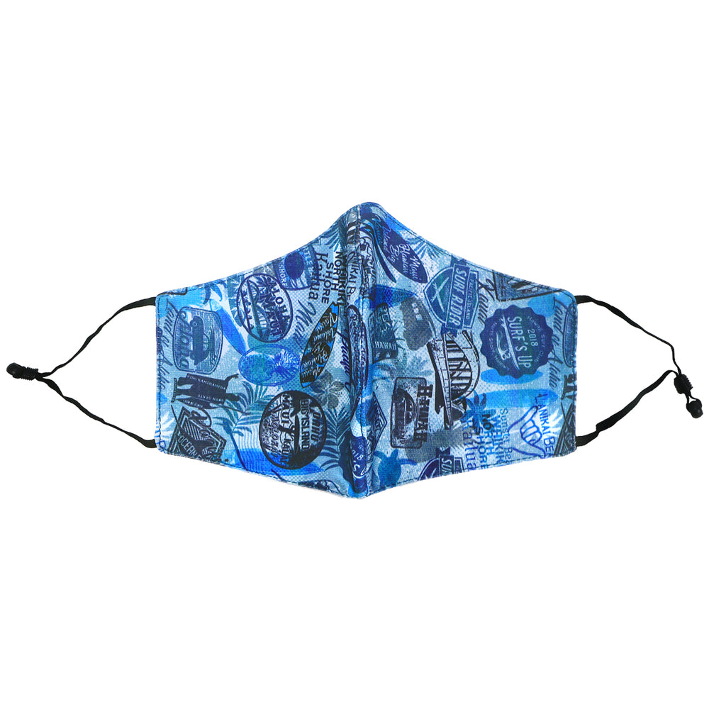 FACE MASK W/ ADJUSTABLE STRAP : SURF STATE, QUILT TIME-BLUE - 3, 4 SETS