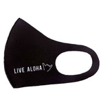 FACE MASK : PLAIN BLACK W/ LIVE ALOHA - 4PCS SET