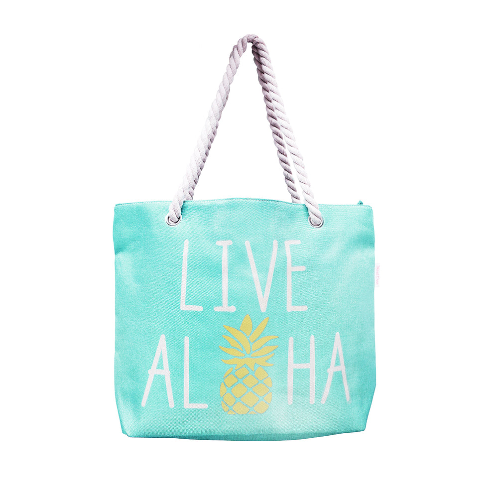WOVEN TOTE BAG W/ ROPE HANDLE - LIVE ALOHA - BLUE / GREEN / PINK