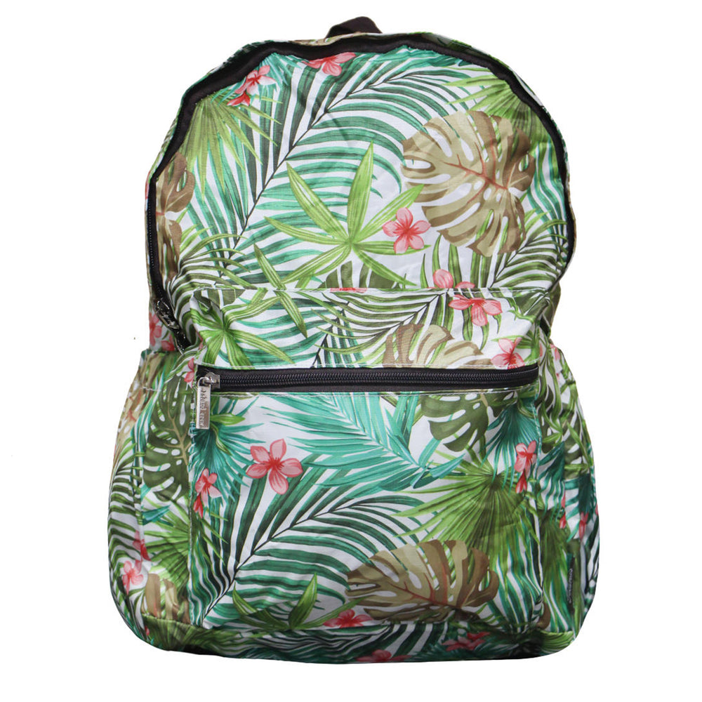 Hawaii Foldable Backpack PALM FOREST - CREAM / BLACK
