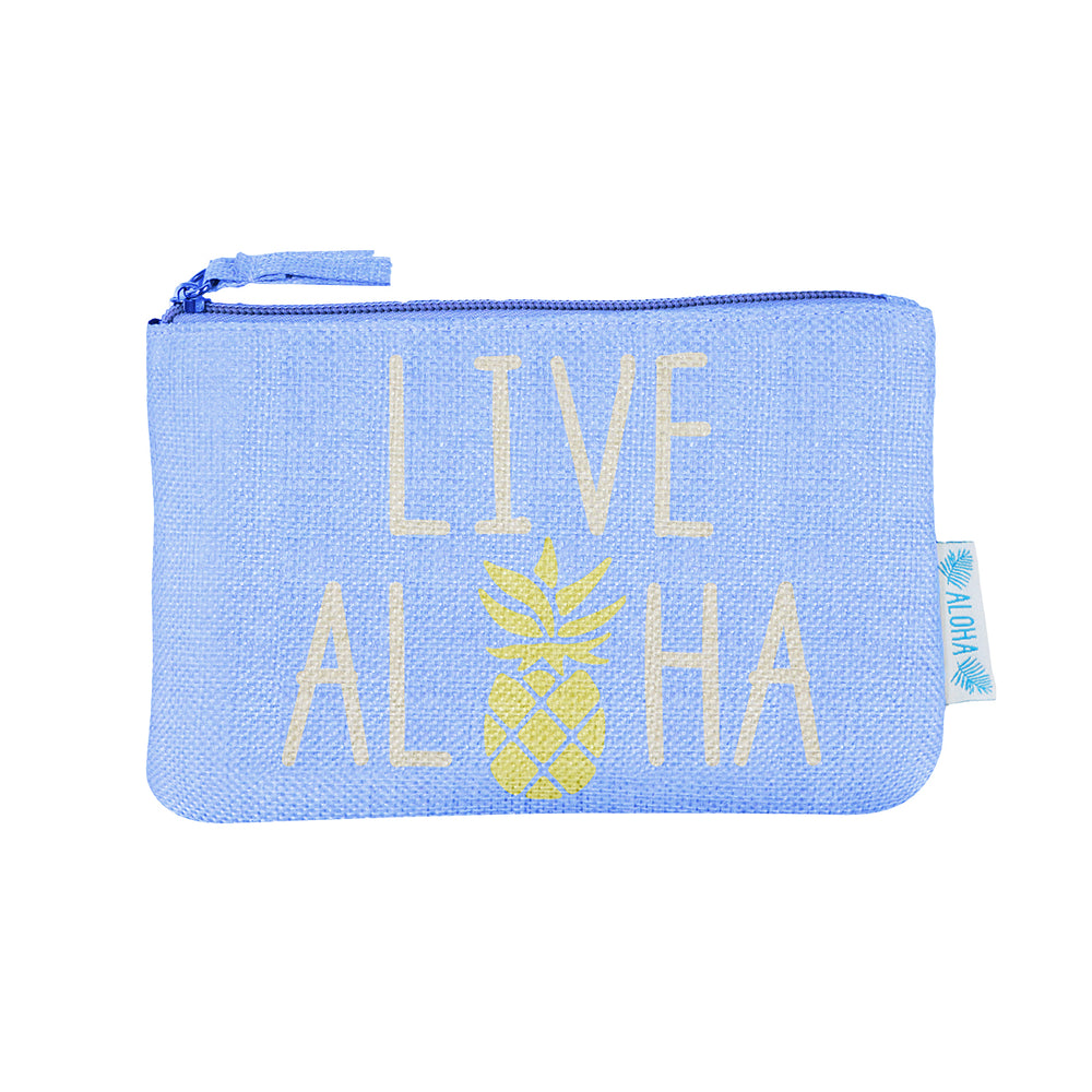 WOVEN POUCH - LIVE ALOHA - BLUE / GREEN / PINK