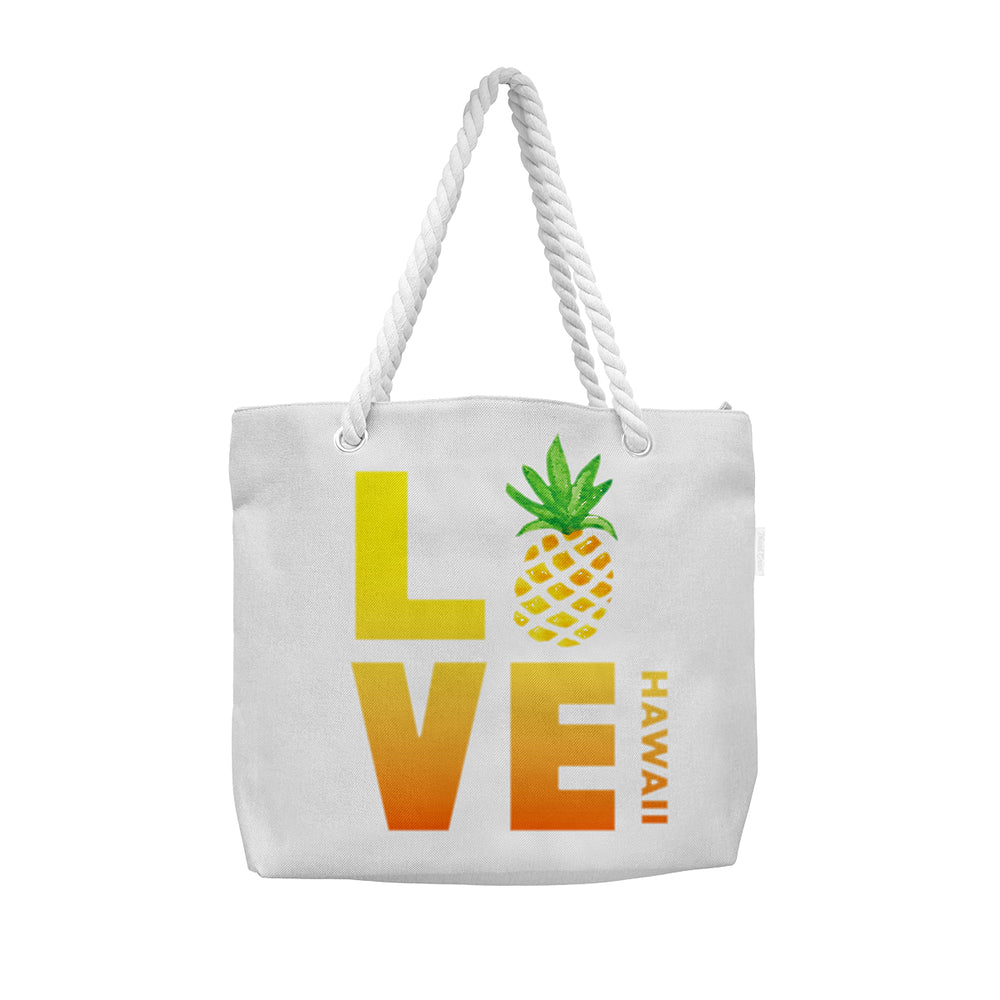 WOVEN TOTE BAG W/ ROPE HANDLE - LOVE PINEAPPLE