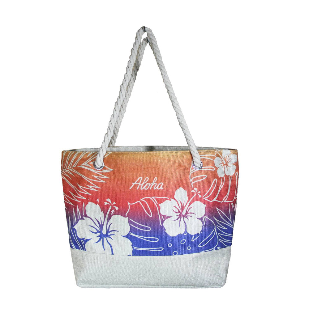 WOVEN TOTE BAG W/ ROPE HANDLE - HIBISCUS