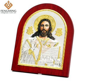 Jesus Christ Printed Metal Plated Icon