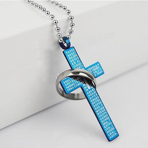Steel Pendant Christian Prayer