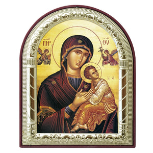 Virgin Mary and Jesus With Angels Printed Metal Plated Icon (Byzantine Style)