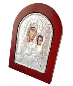 Virgin Mary of Jerusalem Printed Metal Plated Icon