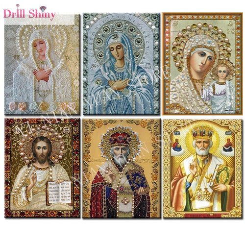 5D DIY Diamond Painting Diy Square Full Diamond Embroidery Icon Religion Rhinestones Cross Stitch Kits Mosaic Handicrafts MXF26
