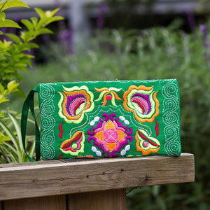 Embroidered Wristlet Clutch Bag