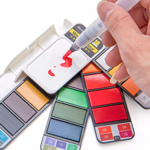 18/25/33/42 Color Solid Watercolor Set Collapsible