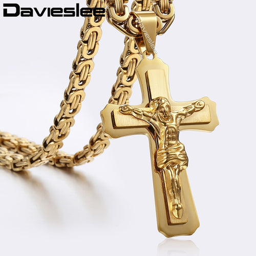 Jesus Christ Cross Pendant Silver Gold Stainless Steel Byzantine