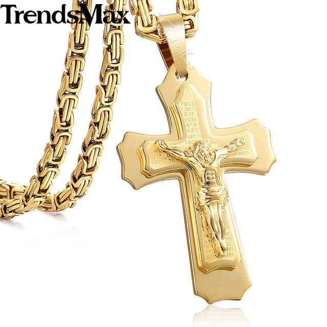 Jesus Cross Pendant Necklace Stainless Steel Byzantine