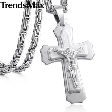 Load image into Gallery viewer, Jesus Cross Pendant Necklace Stainless Steel Byzantine