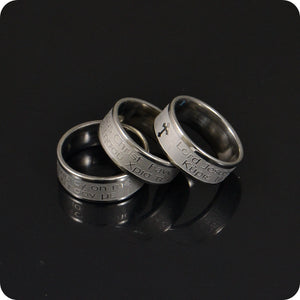 English and Greek Stainless Steel Ring