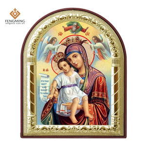 Virgin Mary And Jesus With Angels Printed Metal Plated Icon