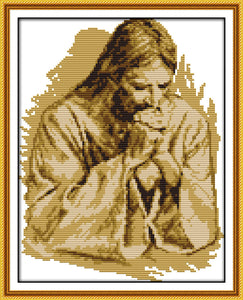 Praying Jesus Cross Stitch Kit people