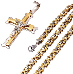 Stainless Steel Christs Jesus Cross Pendant Byzantine
