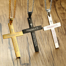 Load image into Gallery viewer, Classic Simple Cross Pendant Philippians 4:13