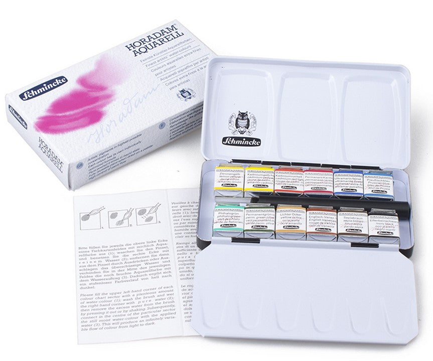 German Schmincke A Professional 12 Colour Watercolor Paint