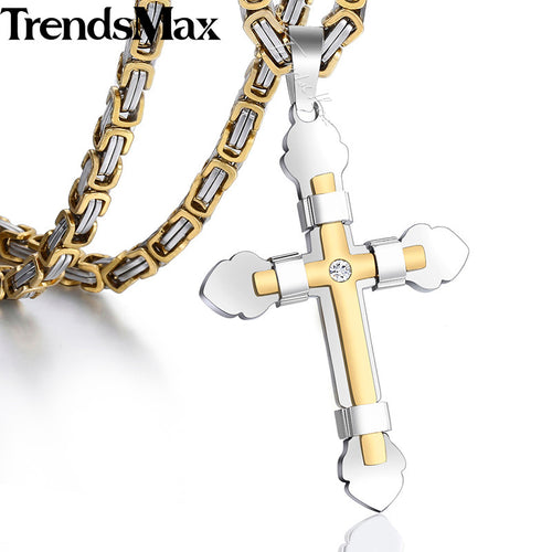 Cross Necklace Gold Silver Black Stainless Steel Cross Pendant Byzantine