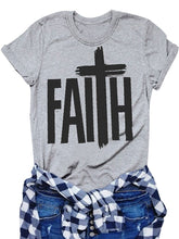 Load image into Gallery viewer, FAITH T Shirt Christian slogan cross graphic women