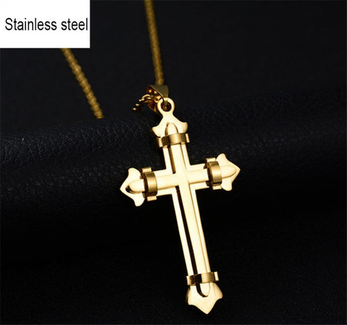 Stainless Steel Jesus Christ Cross Pendant Necklace Byzantine