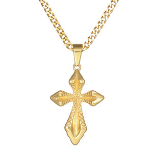 Cross Necklace Byzantine Gold Stainless Steel