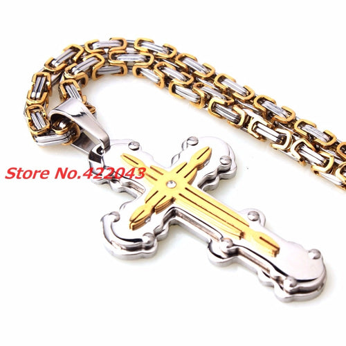 Cross Crucifix Pendant Byzantine Necklace Stainless Steel