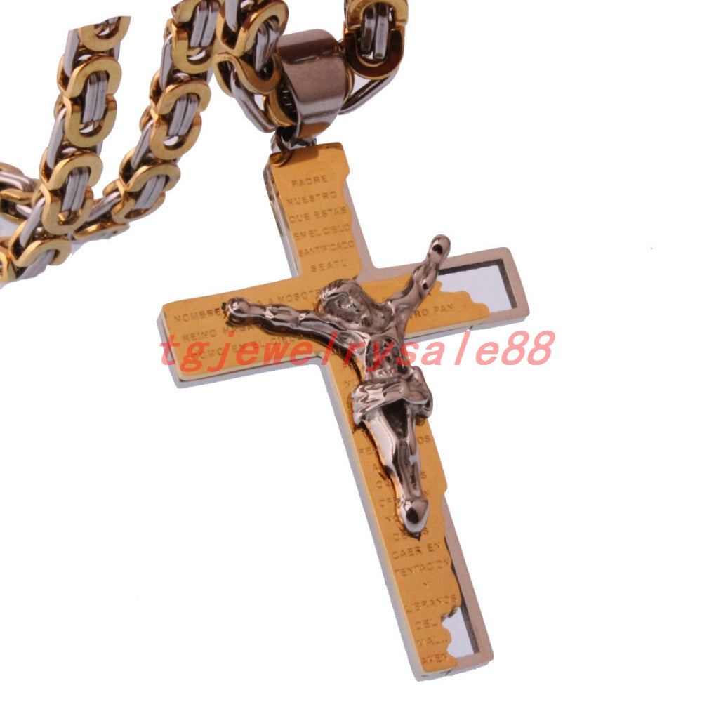 Cross Pendant Byzantine Chain Necklace