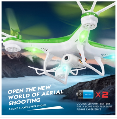 JJR/C H97 Gyro 4-Channel 2.4GHz Drones RC Quadcopter with LED Light & 0.3MP Camera(Green)