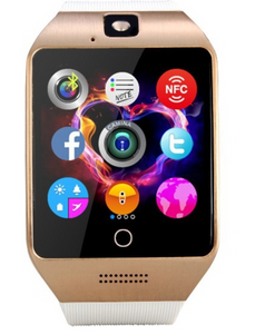 Q18S 1.54 inch IPS Screen MTK6260A Bluetooth 3.0 Smart Watch Phone, Pedometer / Sedentary Reminder / Sleeping Monitor / Anti-Loss / Remote Camera / GSM / 0.3M Camera (Black + Gold)