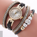 WJ-6963 Duoya China Watch Factory 3 Circles Wrap Bracelet Wrist Watch Women Fancy Hand Watch for Girls