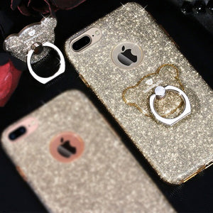 AIQAA Glitter Powder Drop-proof Protective Case with Bear Ring Holder for iPhone 8+/7+