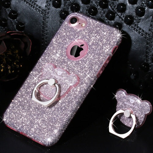 AIQAA Glitter Powder Drop-proof Protective Case with Bear Ring Holder for iPhone 6+/6s+
