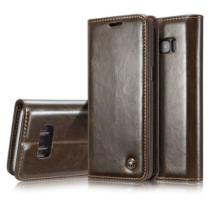 CaseMe Horizontal Flip Leather Case with Card Slots & Wallets for Samsung S8
