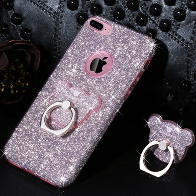 AIQAA Glitter Powder Drop-proof Protective Case with Bear Ring Holder for iPhone 6/6s