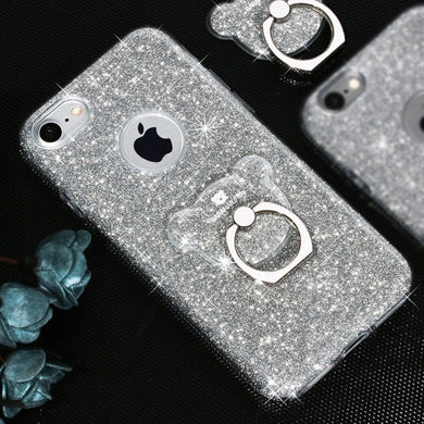 AIQAA Glitter Powder Drop-proof Protective Case with Bear Ring Holder for iPhone 8/7