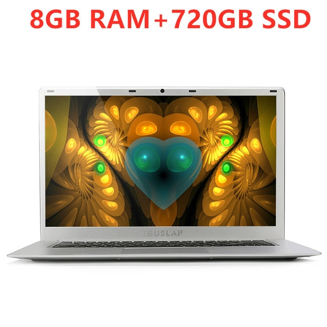 15.6inch 8GB Ram+500GB 1TB 2TB HDD 720GB SSD Windows 10 System Intel Quad Core CPU 1920*1080P Full HD Laptop Notebook Computer