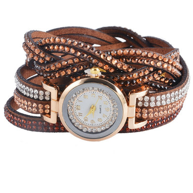 Doreen Box Velvet Wrap Bracelet Quartz Wrist Watches Braided Clear Rhinestone Battery Included 39cm(15 3/8